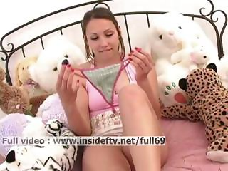 Michelle _ Amateur babe stuffing her panties and toying with her pussy