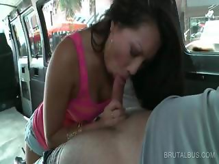 Oral sex in the bus with hot couple