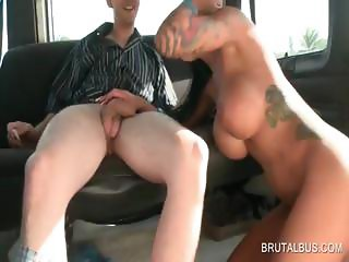 Cock sucking in bus with hot slut