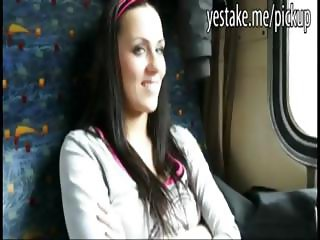 Brunette paid to suck and riding dick in a traincompartment