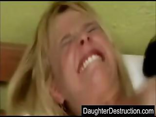 Daughter mouth and pussy fucked hard