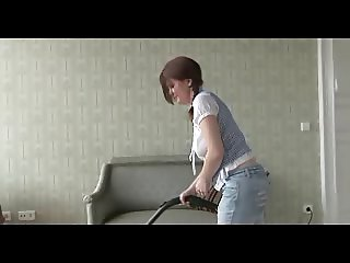busty maria playing with vacuum cleaner