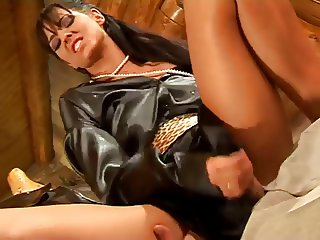 Satin blouse babe fucked by hard cock