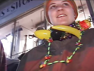 Mardi gras flasher shows you all her piercings