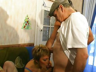 Mature French lady gangbanged
