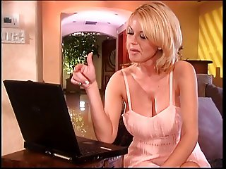 Hot big tits blonde fucked hard at the kitchen