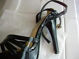Black strappy platform high heels get cum