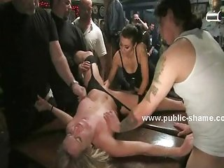 Pool bar clients force slut to suck cock
