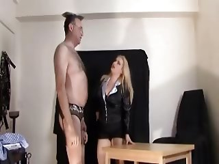 Domme in Stockings Office Humiliation