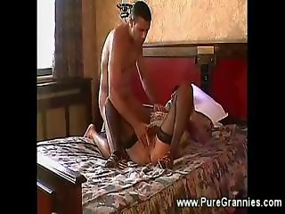Classy granny blows n fucks young lover
