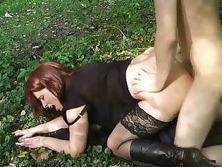 Sexy girl in boots fucked outdoors