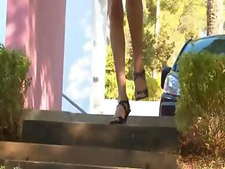 Watch brunette germanian in shoes peeing