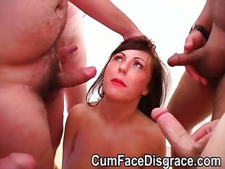 Twat gets her face covered in cum