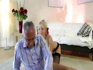 Older British guy fucks blonde in stockings in two holes