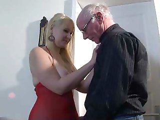 cute blonde fucks old man