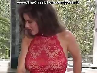 Dark-haired beauty from porn past makes love with an older man