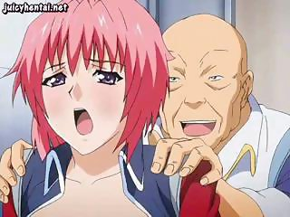 Young hentai redhead get drilled in her ass by a horny old man