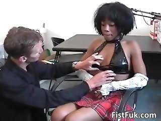 Hot ebony gets pussy fucked by a hard part1