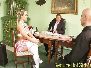 Sexy blonde fucks two guys