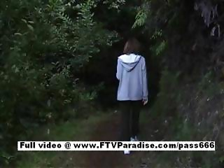 Mysterious Amateur sexy teenage brunette girl gets naked outdoor