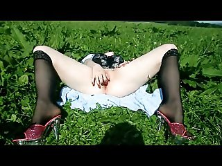 German teen outdoor dildo fucking and oragsm in high heels