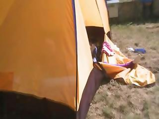 twenty teenie Loly jerking off in a tent