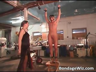 Hot brunette spanks tied guy and jerks part5