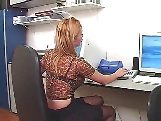 Nervous and Hot Secretary fuckin Ti support guy
