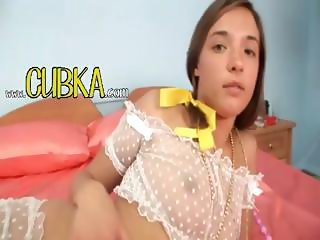 Russian teen fucking a weird toy
