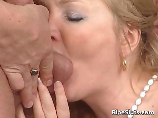 Blonde MILF in stockings sucks stiff part6