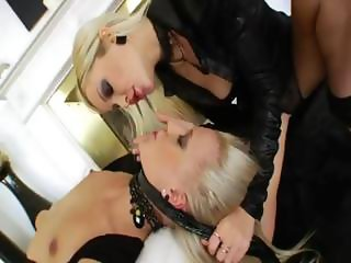 Two blondes gag huge brutal cock