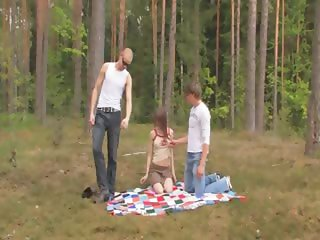 Amateur american threesome in the forest
