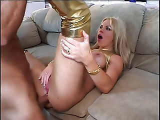 hot blonde in gold boots and top fucks hard