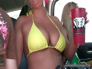 Busty blonde babes get horny showing off part1