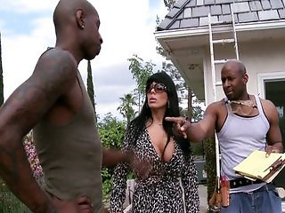 Cougar fucked by two black guys