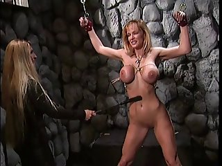 Big tits blonde teases her sexy slaves tits