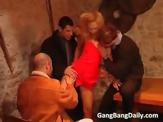 Tiny petite blonde slut is in gang bang part6