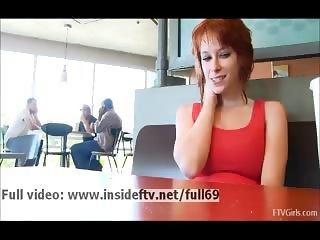 Zoey _ Cute and shy amateur redhead playing with her pussy in a public place
