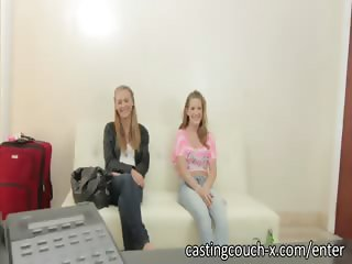 Two sexy blondes do FFM porn casting