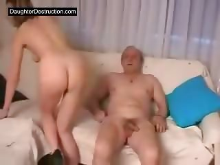 Young daughter brutally fucked by dirty old man