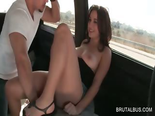 Redhead gets cunillingus in the bus