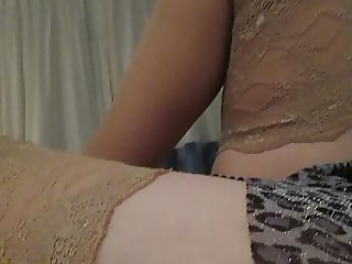 Touching girl in stockings in hotel room