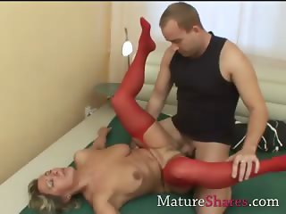 Divorcee gets nailed in red nylon