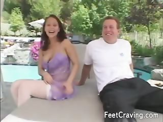 Wild girls enjoy giving footjobs