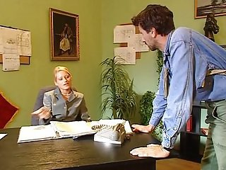 Blonde Luna -Double anal in the office