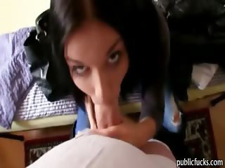 Pretty brunette amateur blowjob and reamed for cash
