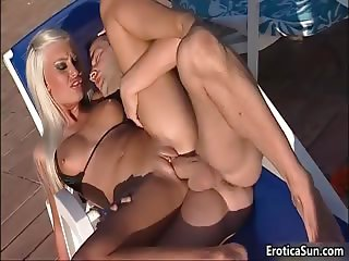 Amazing blonde babe gets fucked by two part3