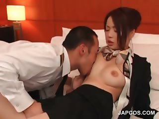 Stockinged asian flight attender gets tits licked