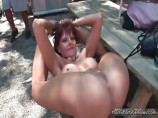 Nasty redhead slut gets horny showing part4