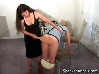 Blonde MILF gets bent over knees to get part5